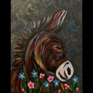 Original painting signed by artist donkey